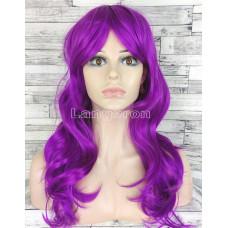 Парик фиолетовый длинный волнистый с длинной челкой женский для женщин 60см из искусственных волос