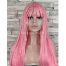 Парик розовый длинный прямой ровный с прямой челкой женский для женщин 70см из искусственных волос