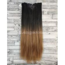 Волосы на заколках черные омбре в русый №1BТ26 Трессы прямые термостойкие набор 6 прядей на клипсах