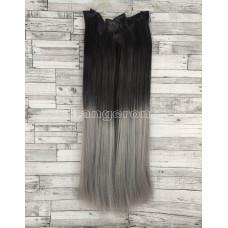 Волосы на заколках черные омбре с серым пепельным №1BТ0906 Трессы прямые термостойкие набор 6 прядей на