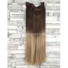 Волосы на заколках каштановые омбре блонд №8Т25 Трессы прямые термостойкие набор 6 прядей на клипсах