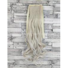 Накладной хвост блонд платиновый волнистый №60 на ленте шиньон термо искусственный