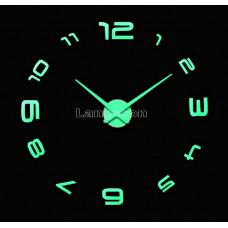 Часы 3d DIY настенные светящиеся с арабские  цифрами по кругу