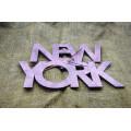 """Часы настенные из фанеры """"New York words"""" любого цвета"""