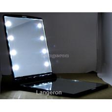 Зеркало со светодиодами зеркальце карманное с подсветкой со светодиодной