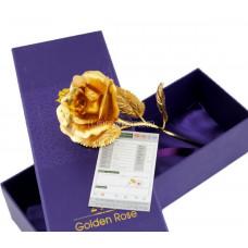 Золотая роза 25см в подарочном коробке и с сертификатом