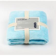 Полотенце коралловый флис ( махра) 70*35 для лица для рук Голубое