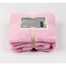Полотенце коралловый флис ( махра) 70*35 для лица для рук Розовое