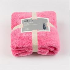 Полотенце коралловый флис ( махра) 70*35 для лица для рук Ярко-розовое