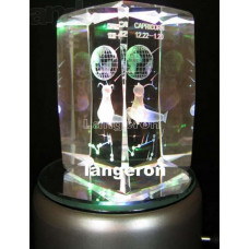Светильник ночник кристалл с гравировкой внутри вращающийся Знаки Зодиака Рыбы оригинальный подарок