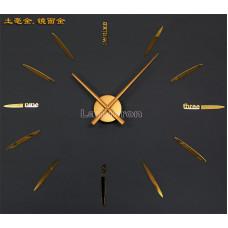Часы настенные Золотые часовой механизм цифры стрелки с полосками и словами , стрелки 30 см цвет - зеркало золото