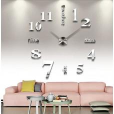 Настенные часы объемные 1м с цифрами и словами diy сделай сам зеркальные серебро