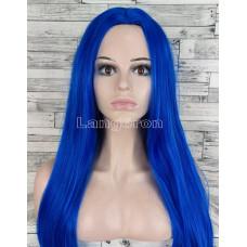 Парик синий длинный прямой ровный без челки с пробором женский для женщин 70см из искусственных волос