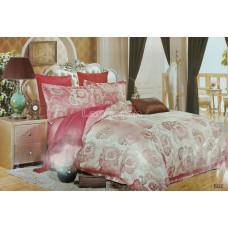 Постельное белье, комплект Евро размер сатин жаккард розовый с принтом