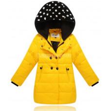 Пуховик для девочки капюшон в горошек желтый размер 146
