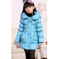 Пуховик для девочки куртка зимняя на натуральном пуху голубой размер 128