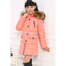 Пуховик для девочки розовый размер 128 на пуху с меховой опушкой