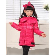 Пуховик для девочки с шарфом красный размер 116