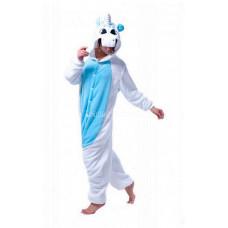 Пижама Единорог белый S рост 145-155 с голубыми крыльями и животом кигуруми kigurumi