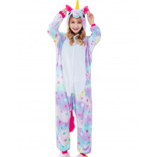 Пижама Единорог звездный S рост 145-155 кигуруми разноцветный
