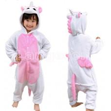 Пижама Единорог белый с розовыми крыльями 135-140 рост кигуруми