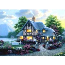 Картина для выкладывания камнями Дом у озера c огоньками 40*30 (34*24см) №3033