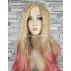 Парик блонд волнистый 70см с пробором розовый омбре