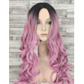 Парик с пробором волнистый розовый с темными корнями 70см