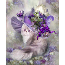 Картина квадратными камнями Кошка в шляпе 30*40см