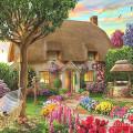 Картина квадратными камнями Домик Украинский двор 40*40