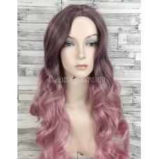 Парик розовый волнистый 75см с пробором без челки