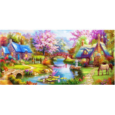Картина круглыми камнями Пейзаж Домик у реки мостик 92*42см