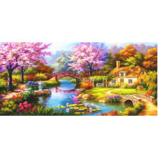 Картина круглыми камнями Дом два мостика река 92*42см