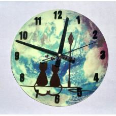 Часы настенные светящиеся в темноте Коты влюблене 29 см