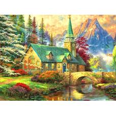 Картина круглыми камнями Пейзаж горы река мост домик 24*34