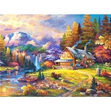 Картина круглыми камнями Пейзаж Дом у водопада 24*34