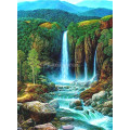 Картина круглыми камнями Водопад пейзаж 24*34