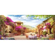 Картина круглыми камнями Уютный дворик улица 110*40см