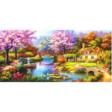 Картина круглыми камнями Дом два мостика река 100*50