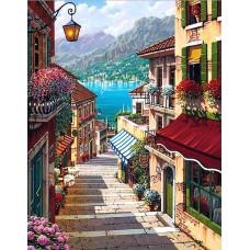 Картина круглыми камнями Лестница в город 20*30