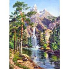 Картина круглыми камнями Водопад горы пейзаж 20*30