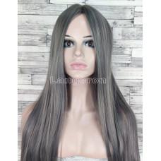 Парик серый пепельный длинный прямой без челки с пробором женский для женщин 70см из искусственных волос