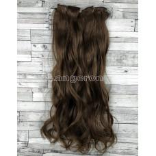 Волосы на заколках набор коричневые №33А волнистые трессы из 6 тресс 16 клипс
