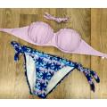 Купальник фиолетовый верх фиолетовые плавки с пальмами на завязках М