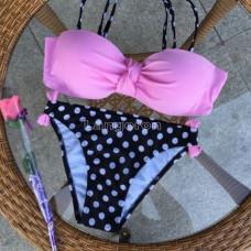 Купальник розовый лиф плавки в горошек М