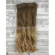 Волосы на заколках набор русый омбре в блонд 8T24 волнистые трессы из 6 тресс 16 клипс