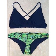 Купальник темно-синий лиф зеленые плавки М