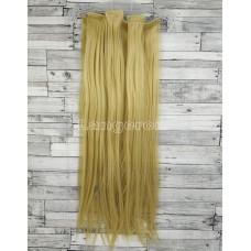 Волосы на заколках набор блонд №9 ровные трессы из 6 тресс 16 клипс