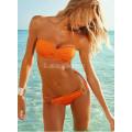 Купальник бандо с кольцами оранжевый размер S пуш ап