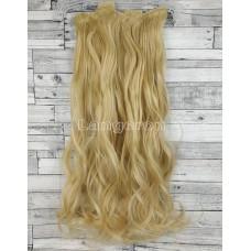 Волосы на заколках набор блонд №9 волнистые трессы из 6 тресс 16 клипс